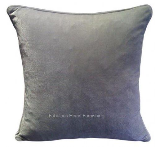 LARGE SIZE SOFT FEEL VELVET PLUSH STYLISH DESIGNER CUSHION COVER SILVER GREY COLOUR